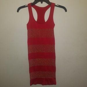 Red & Gold Tight Mini-Dress